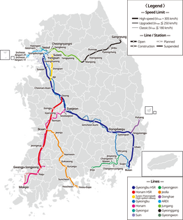 KTX Train Line Map with Daejeon to Mokpo route