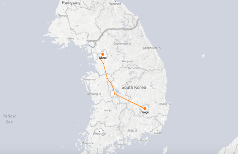 Daegu to Seoul Train Route Map