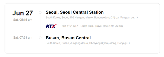 Train station information on KTX ticket from Seoul to Busan