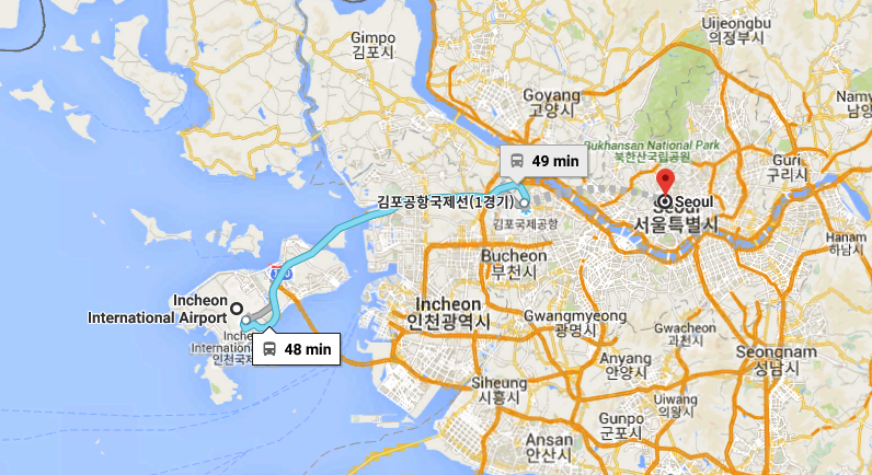 Incheon Airport to Seoul Train Route Map