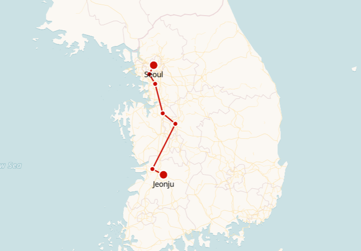 Jeonju to Seoul Train Route