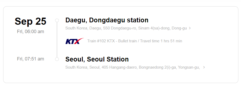 Train station information on KTX ticket from Daegu to Seoul