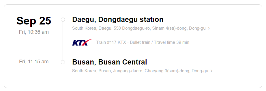 Train station information on KTX ticket from Daegu to Busan