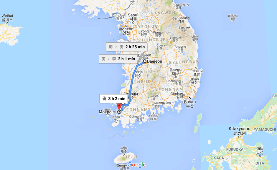 Daejeon Mokpo Train Route