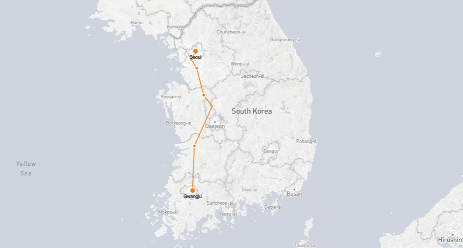 Seoul Gwangju Train Map