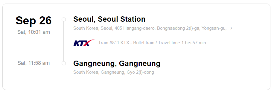 Train station information on KTX ticket from Seoul to Gangneung